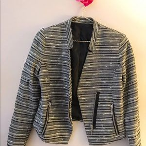 Tweed Cropped Bomber Jacket Size Small